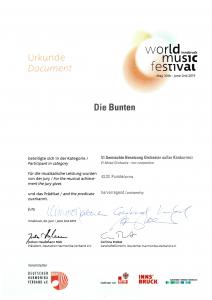 Urkunde zum World Music Festival